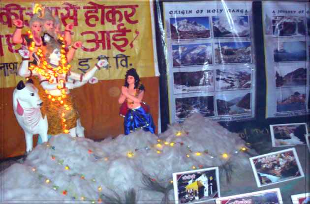 A view of display model  showing mythological origin of Holy Ganga