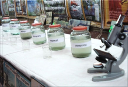 Counter view of Ganga Exhibition showing Ganga Water Sample at Different Sites