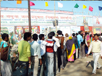 Local peopla standing in que (Vasant Panchami)